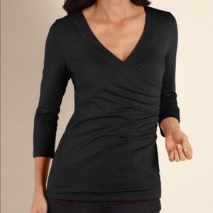 Soft surroundings Shapely Surplice 3/4 Sleeve Top